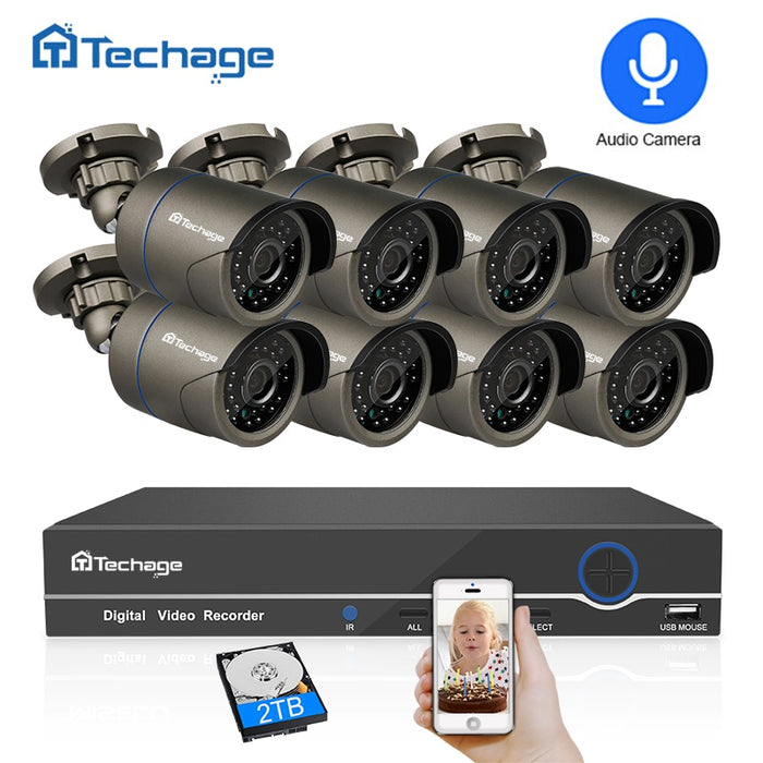 Techage 8CH 1080P HDMI POE NVR Kit CCTV Security System - JJslove.com