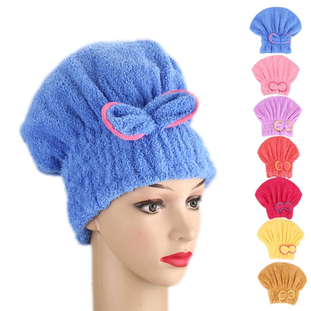Microfibre Quick Hair Drying Bath Spa Bowknot Wrap Towel Hat Cap For Bath Bathroom Accessories - JJslove.com