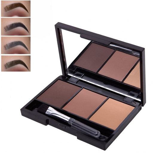 3 Colors Eyebrow Powder Palette Waterproof Shade For Eyebrows Enhancer Cosmetic Brush Mirror - JJslove.com