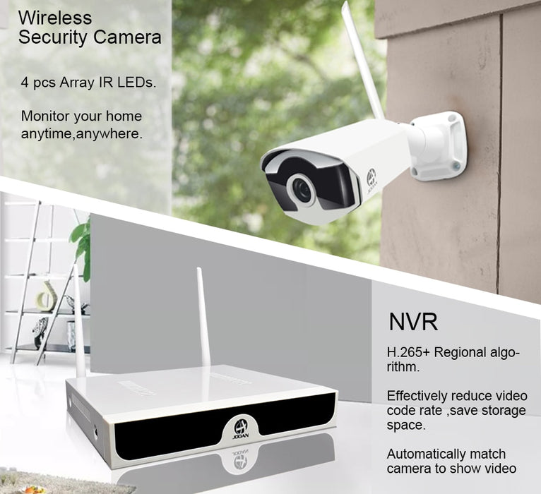 Wireless CCTV System 1080P 1TB HDD 2MP 4CH NVR IP IR-CUT outdoor Security System - JJslove.com