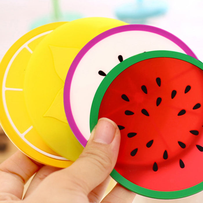 Hot Coaster Fruit Shape Silicone Cup Pad Slip Insulation Pad Cup Mat Pad Hot Drink Holder - JJslove.com