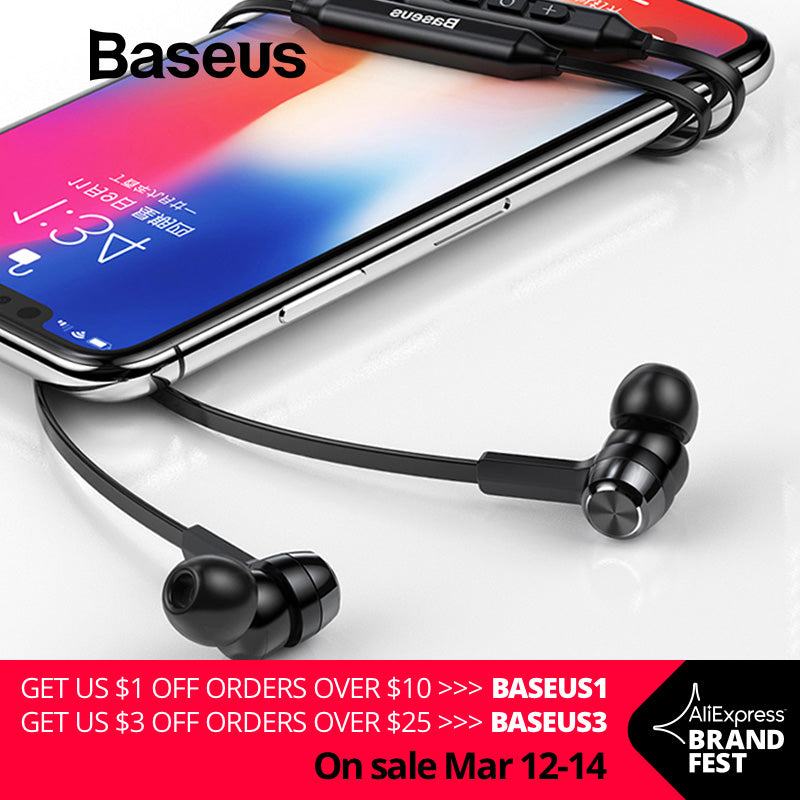 Baseus S06 Neckband Bluetooth Earphone Wireless earphones For Xiaomi iPhone earbuds stereo auriculares fone de ouvido with MIC - JJslove.com