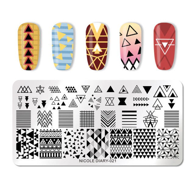 NICOLE DIARY Nail Stamping Plates Lace Flower Animal Pattern Nail Art Stamp Stamping Template Image Plate Stencil Nails Tool - JJslove.com