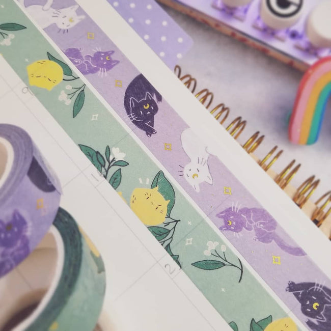 Moon Cats Washi Tape ~ Gold foil