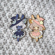 Moon & Star Bunny Witch Pins