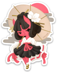Oni Girl Sticker