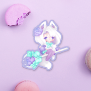 Pastel Kitty Witch Sticker
