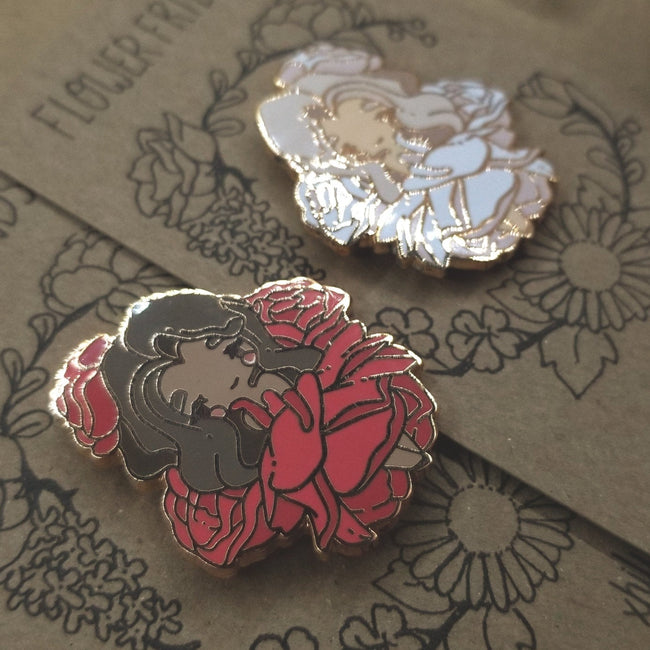 Red & White Rose Pins
