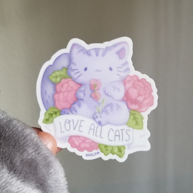 Love All Cats ~ Weatherproof Vinyl Sticker