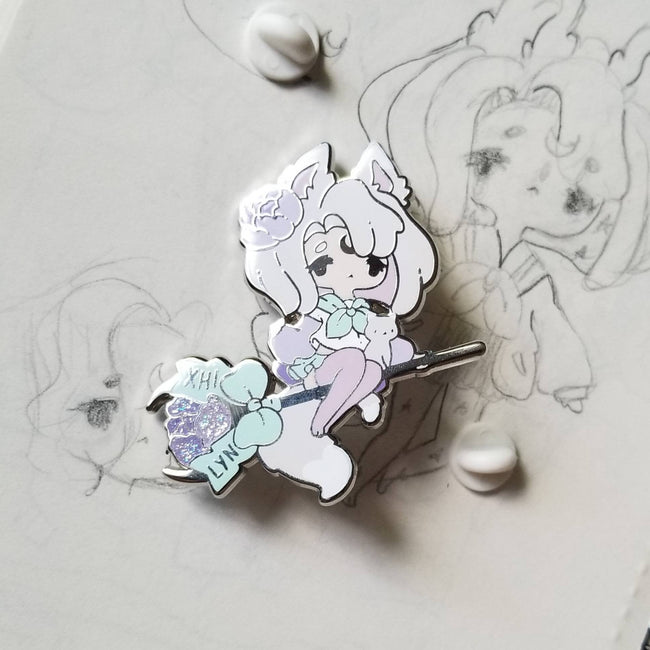 Pastel Kitty Witch Pin