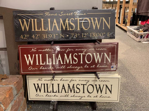 Black Williamstown Coordinates Painted Sign
