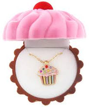 Load image into Gallery viewer, Cupcake necklace in Cupcake felted box