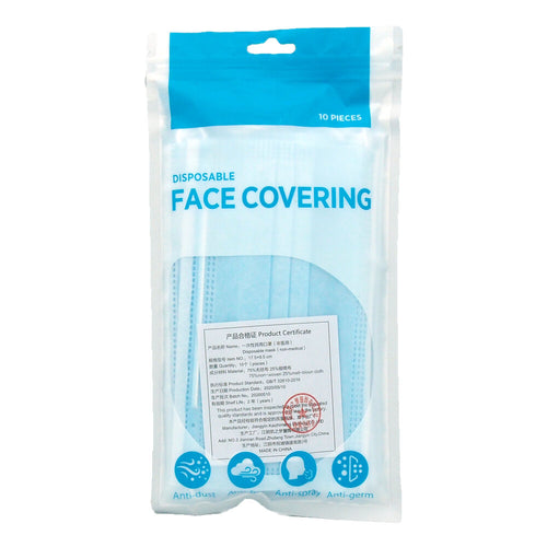 Pack of ten disposable face masks