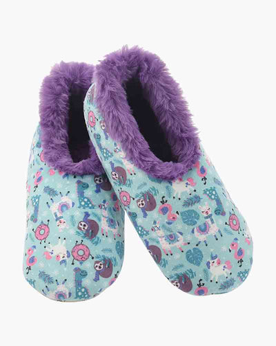 Furry nice Snoozies slippers Llamas and friends