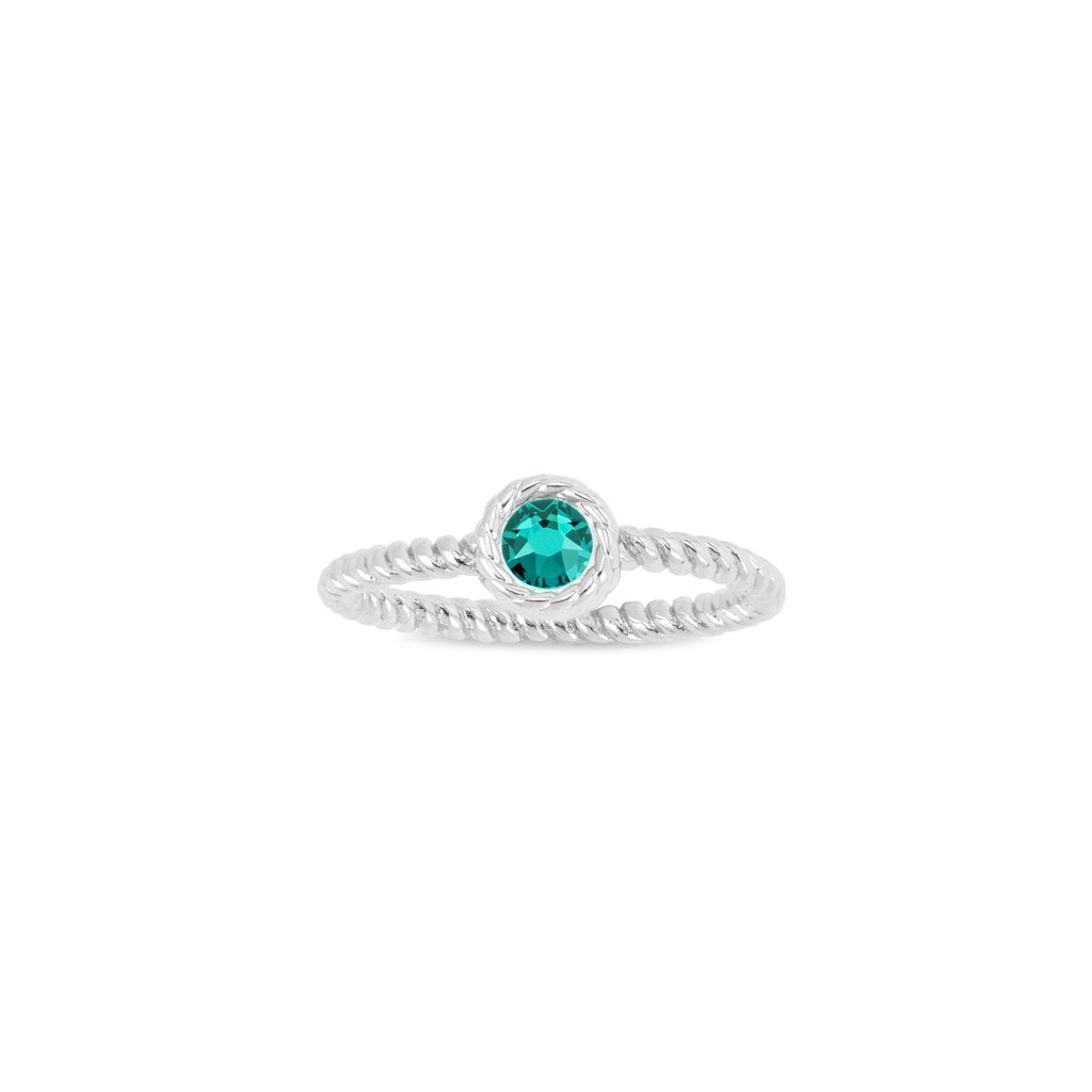 Luca & Danni May Birthstone Ring silver or gold