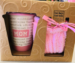 Mom tall ceramic coffee Cup with lid and cozy socks gift set