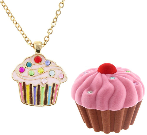 Cupcake necklace in Cupcake felted box
