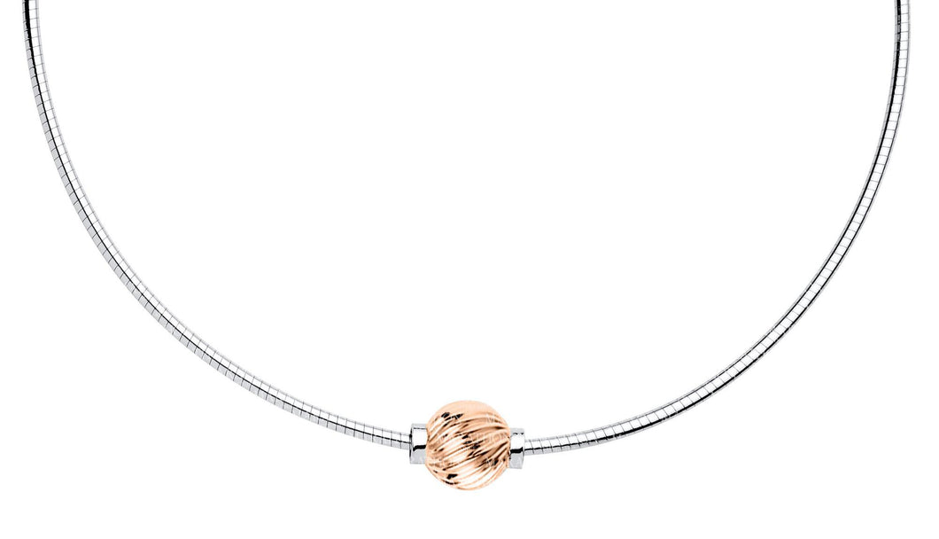 Cape Cod 14kt Rose Gold Twist Ball Omega Necklace