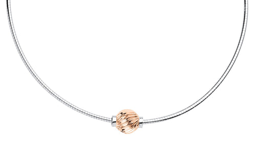Sterling Silver Rose Gold Omega necklace