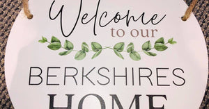 White Round Welcome to our home sign