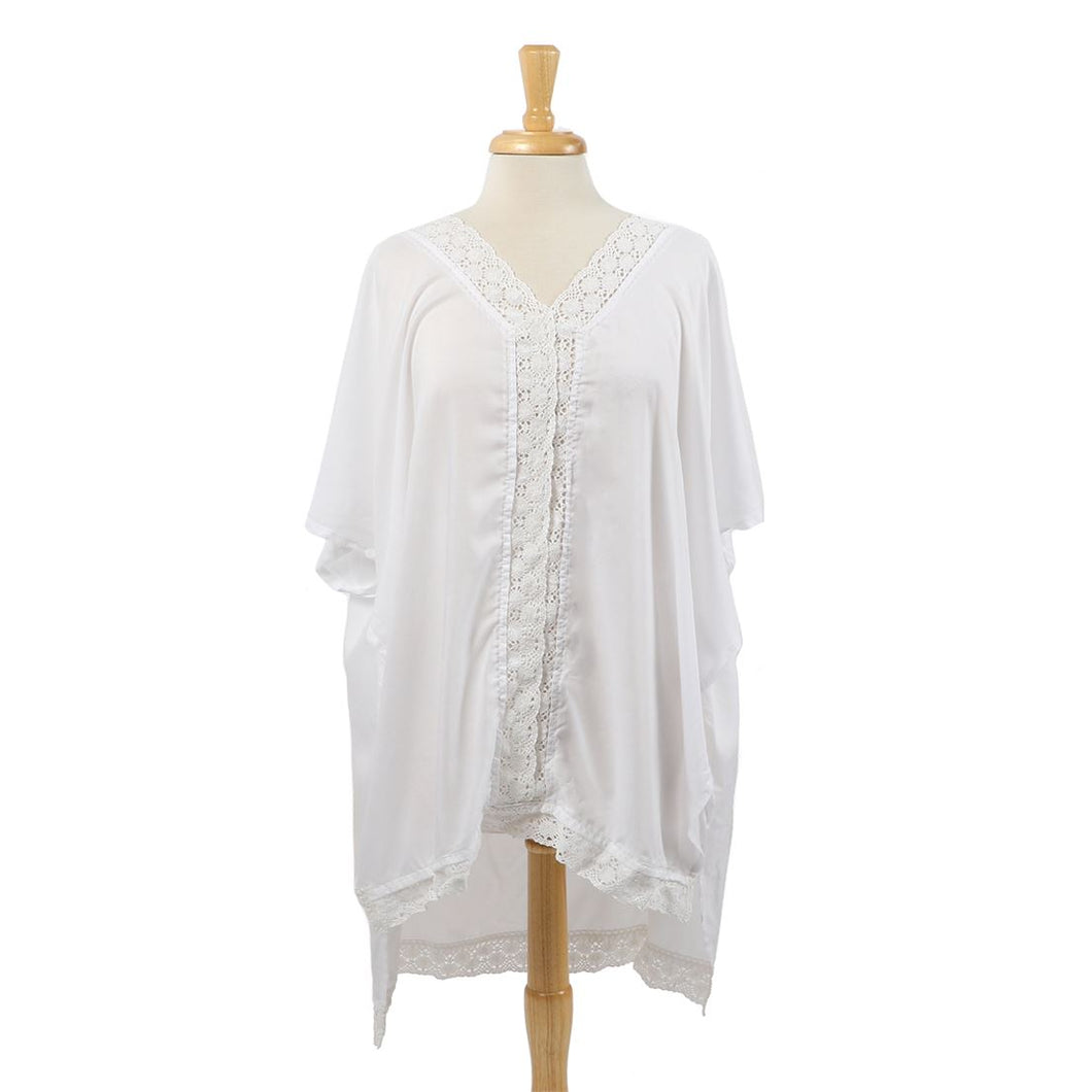 White Kaftan Beach Coverup Poncho