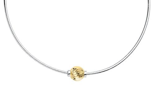 Cape Code 14k gold twist ball Omega Necklace