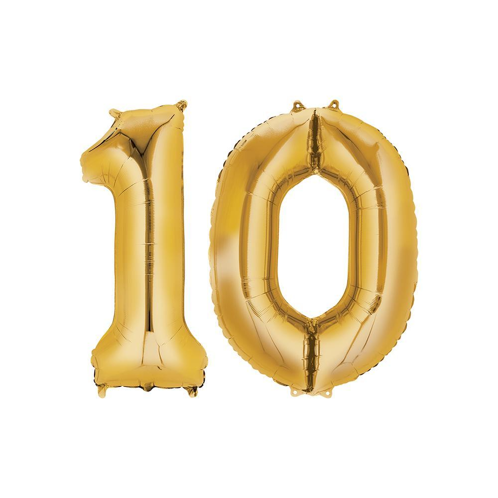 10 Year Old Gold Foil Balloon Birthday T-Shirt 16 in.