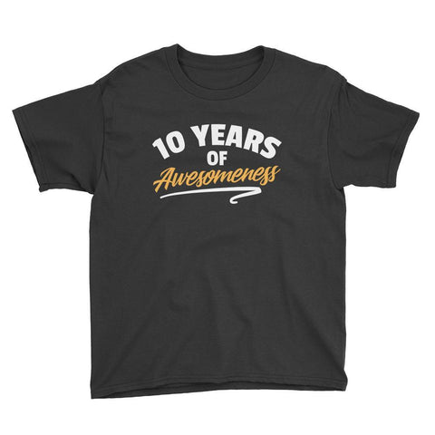 10 Years of Awesomeness Birthday T-Shirt Black / Youth XS