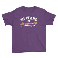 10 Years of Awesomeness Birthday T-Shirt Purple / Youth XS