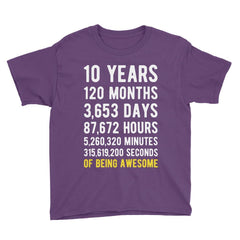 10 Years of Being Awesome Birthday T-Shirt