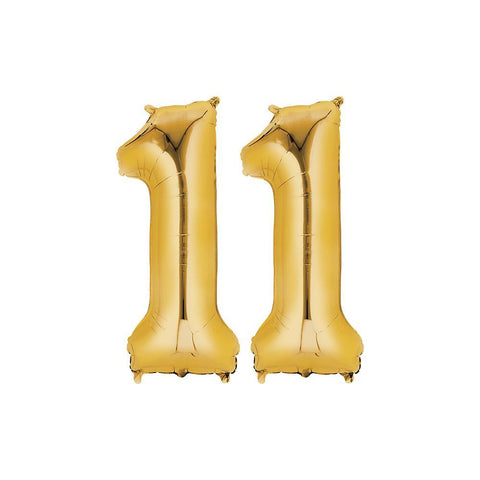 11 Year Old Gold Foil Balloon Birthday T-Shirt 16 in.