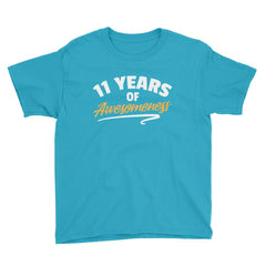 11 Years of Awesomeness Birthday T-Shirt Caribbean Blue / Youth XS