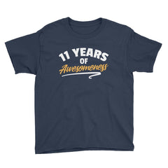 11 Years of Awesomeness Birthday T-Shirt Navy / Youth XS