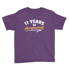 11 Years of Awesomeness Birthday T-Shirt Purple / Youth XS