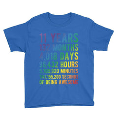 11 Years of Being Awesome - Rainbow Edition Birthday T-Shirt Royal Blue / Youth XS