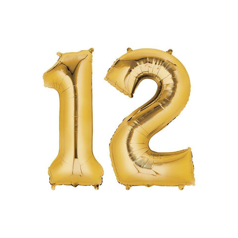 12 Year Old Gold Foil Balloon Birthday T-Shirt 16 in.