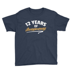 12 Years of Awesomeness Birthday T-Shirt Navy / Youth XS