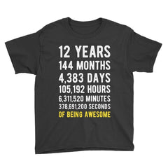 12 Years of Being Awesome Birthday T-Shirt Black / Youth S