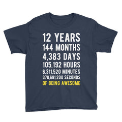 12 Years of Being Awesome Birthday T-Shirt Navy / Youth S