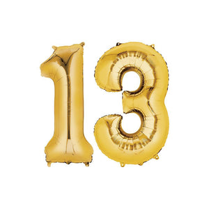 13 Year Old Gold Foil Balloon Birthday T-Shirt 16 in.