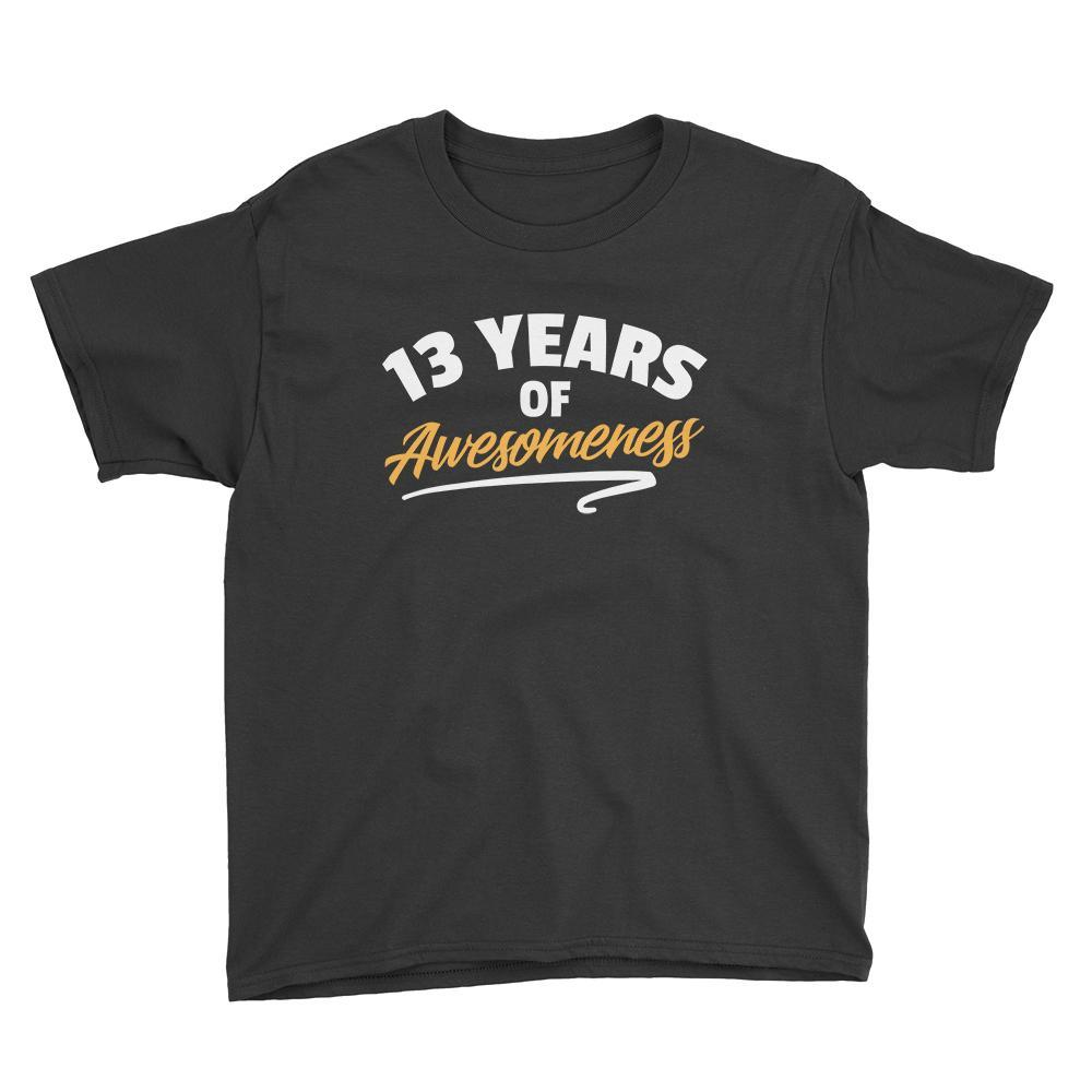 13 Years of Awesomeness Birthday T-Shirt Black / Youth XS