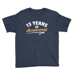 13 Years of Awesomeness Birthday T-Shirt Navy / Youth XS