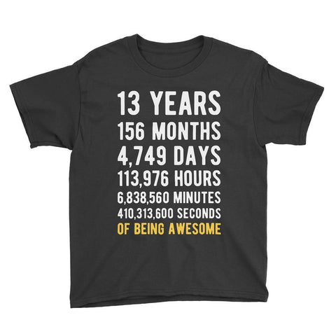 13 Years of Being Awesome Birthday T-Shirt Black / Youth S