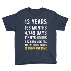 13 Years of Being Awesome Birthday T-Shirt Navy / Youth S