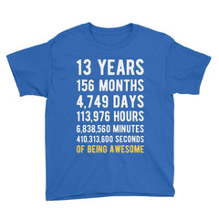13 Years of Being Awesome Birthday T-Shirt Royal Blue / Youth S