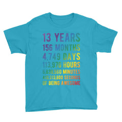 13 Years of Being Awesome - Rainbow Edition Birthday T-Shirt Caribbean Blue / Youth XS