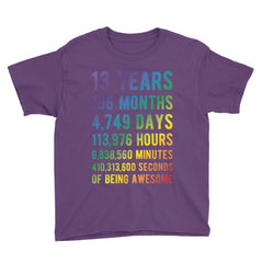 13 Years of Being Awesome - Rainbow Edition Birthday T-Shirt Purple / Youth XS