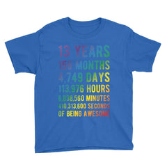 13 Years of Being Awesome - Rainbow Edition Birthday T-Shirt Royal Blue / Youth XS