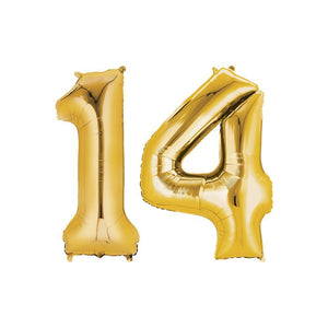 14 Year Old Gold Foil Balloon Birthday T-Shirt 16 in.