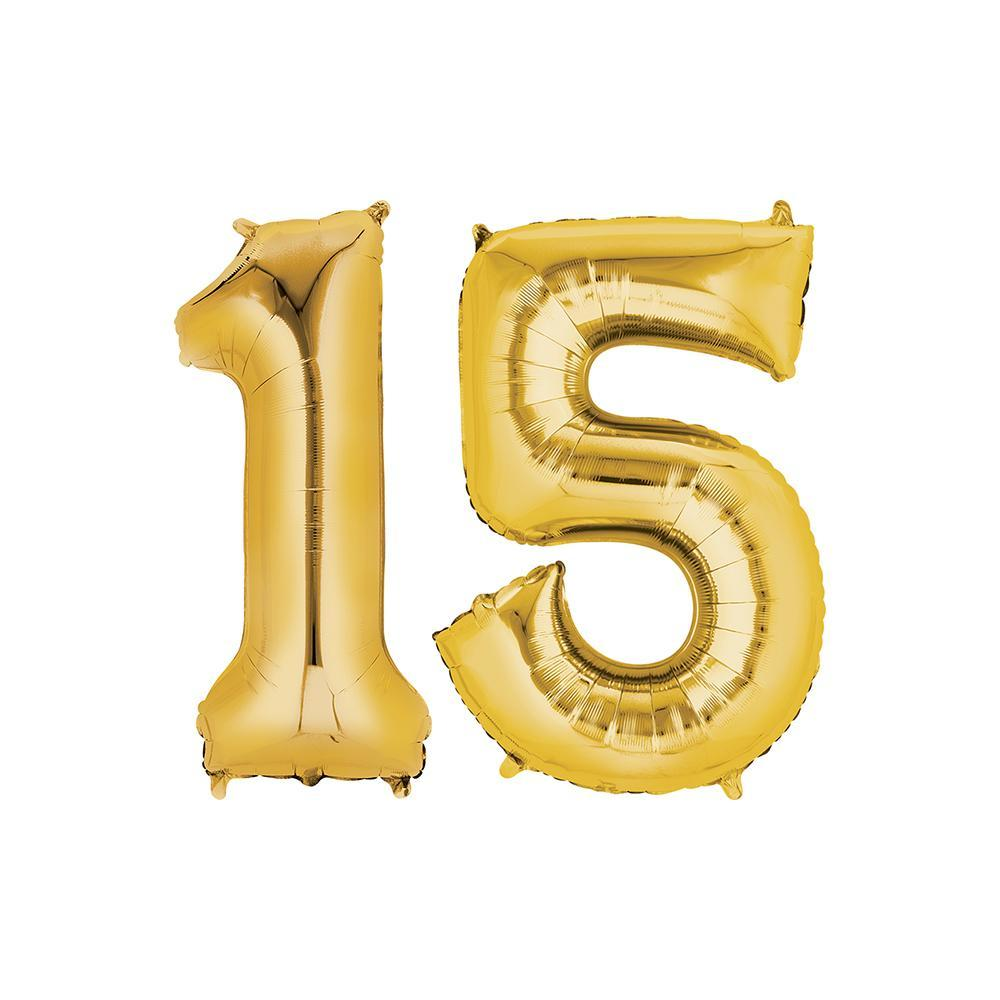 15 Year Old Gold Foil Balloon Birthday T-Shirt 16 in.